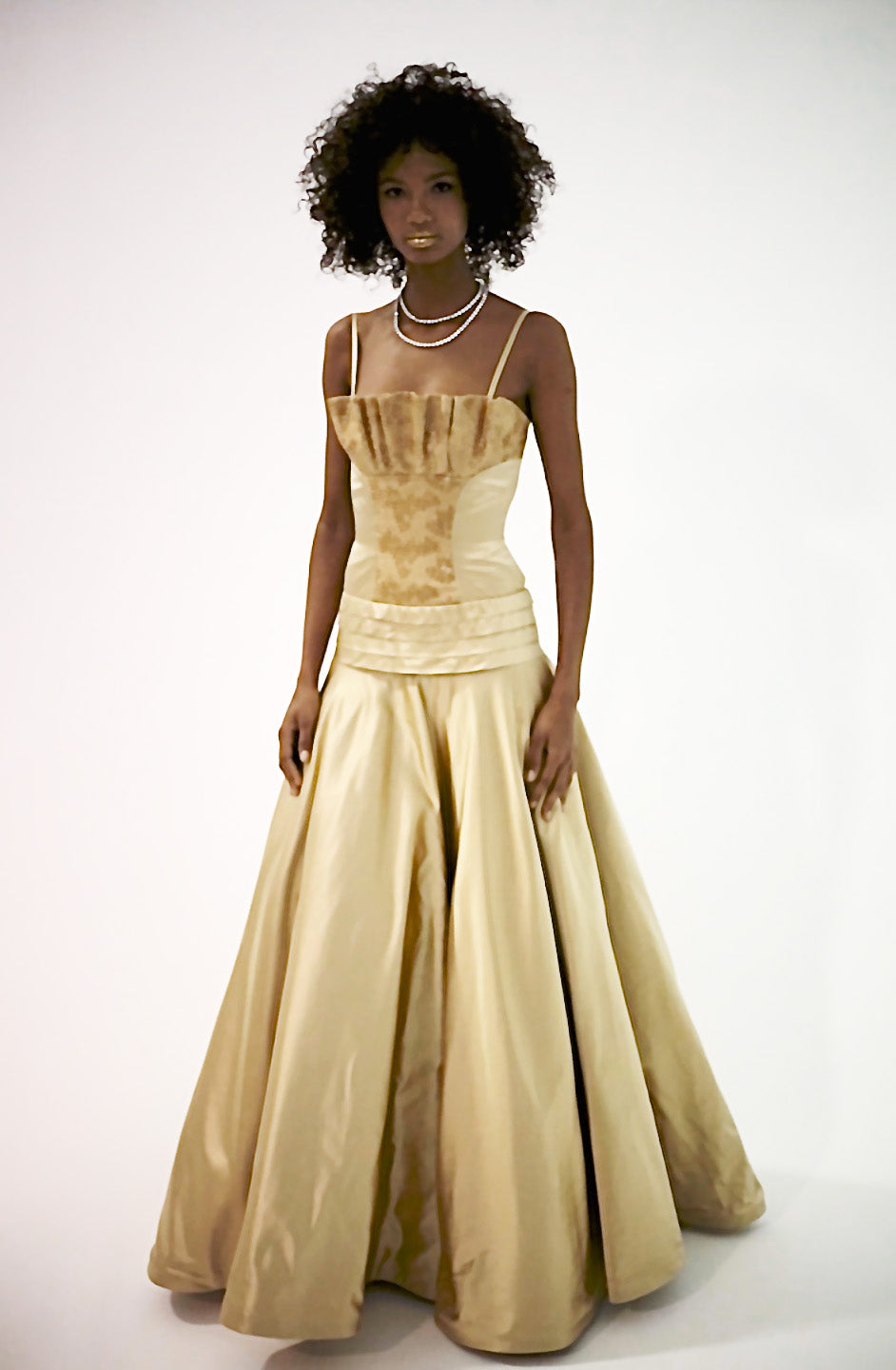 Yellow Goldish/Center Front Sequence Quadro Pleated w/Tulles Under Skirt Ball Gown
