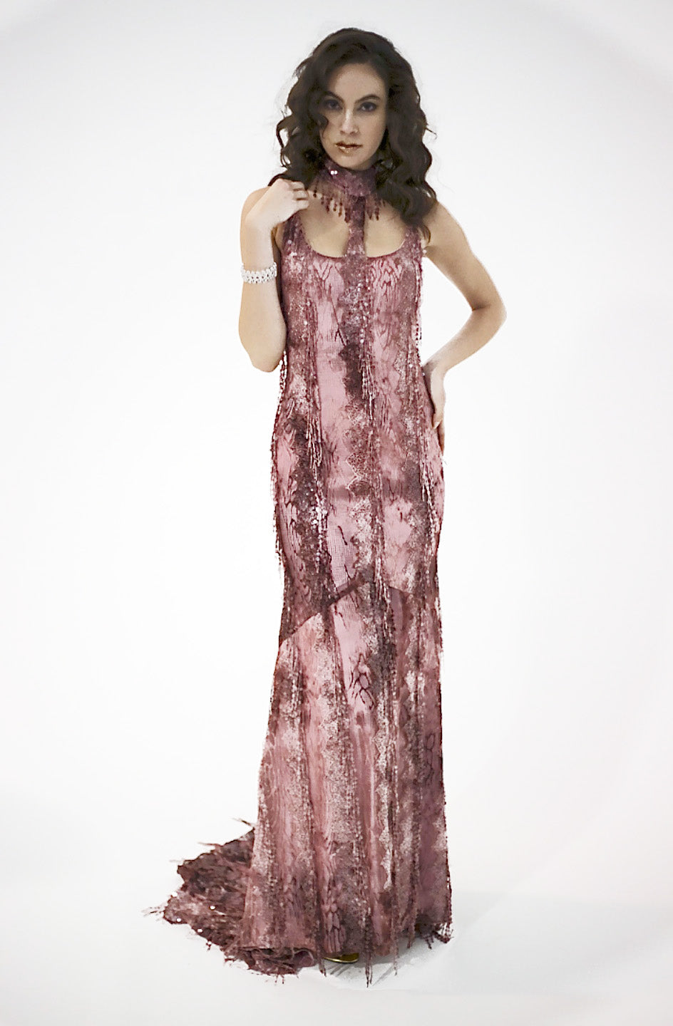 Royal Cherry/ Hand Beaded Sequence Exotic Mapple Chain, Body Fitted Floor Length Train Gown