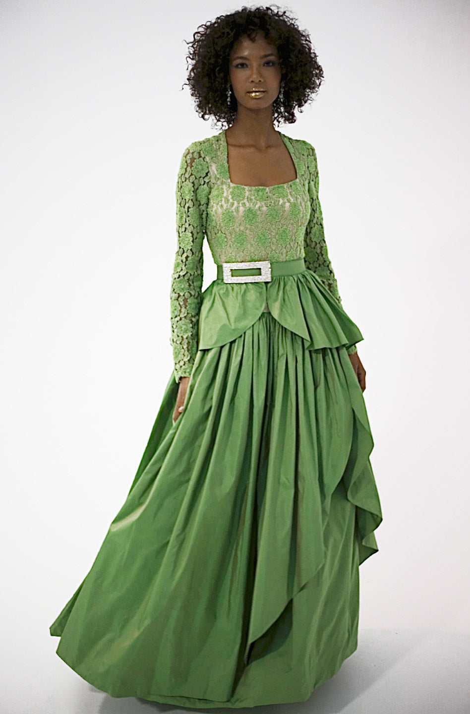 Ocean Green/Silk Taffeta Long Sleeve Hand Beaded Bodice w/ Double Layers Skirt Ball Gown