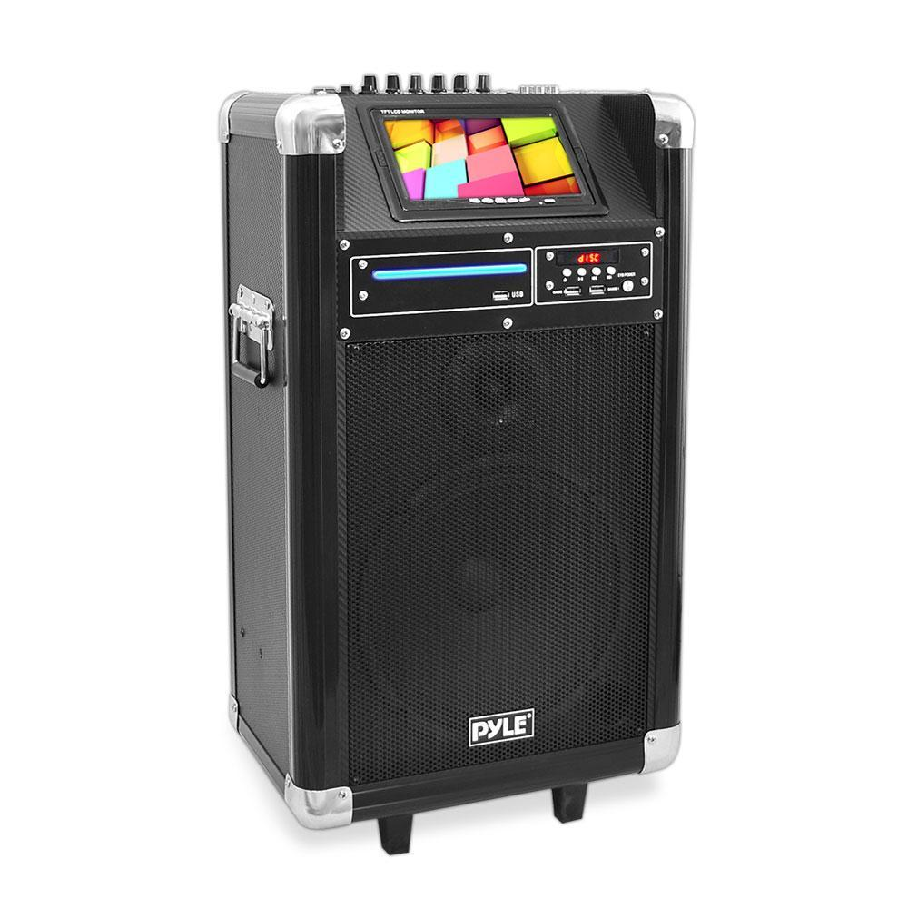 "PylePro Karaoke Vibe Portable Bluetooth Multimedia PA System with Built-in Rechargeable Battery, Wireless Microphone, 7"" Display Screen, 10"" Subwoofer, 400 Watt (PKRK10)"