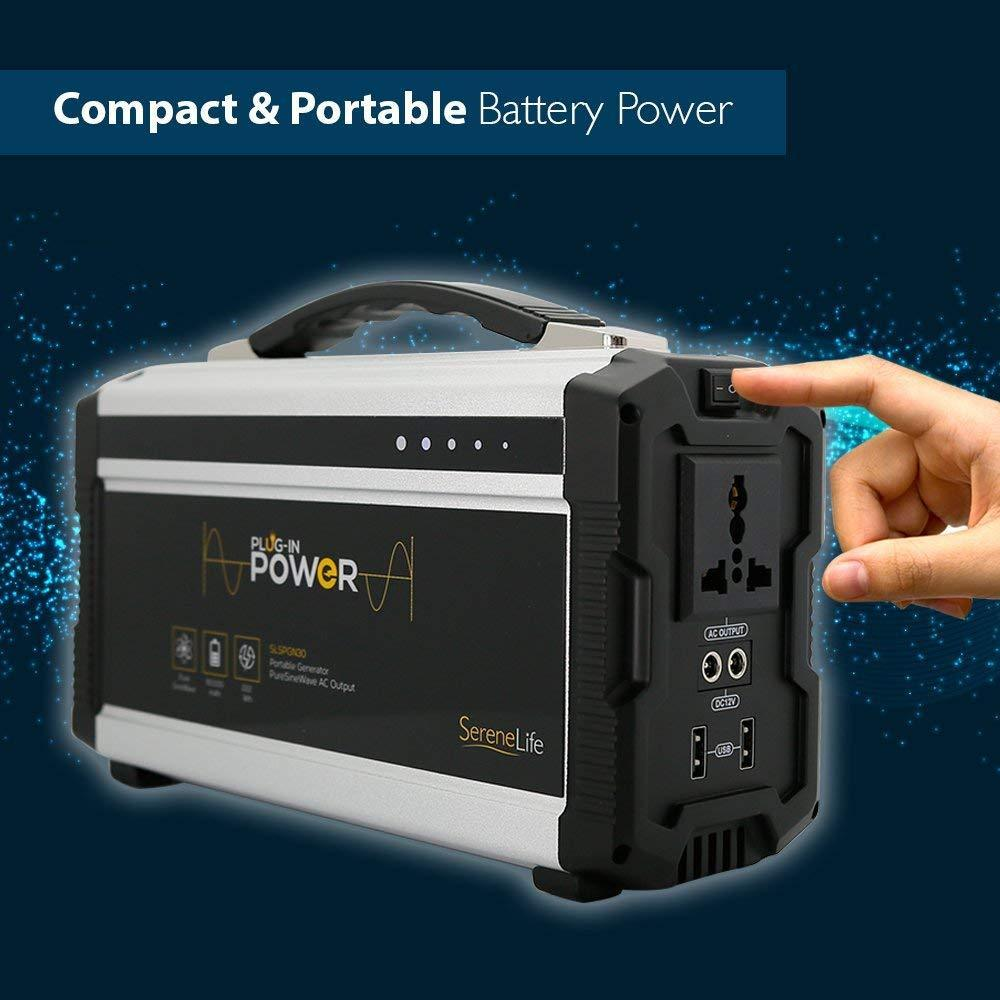 SereneLife Compact & Portable Power Generator, Rechargeable Battery, 60,000mAh (SLSPGN30)