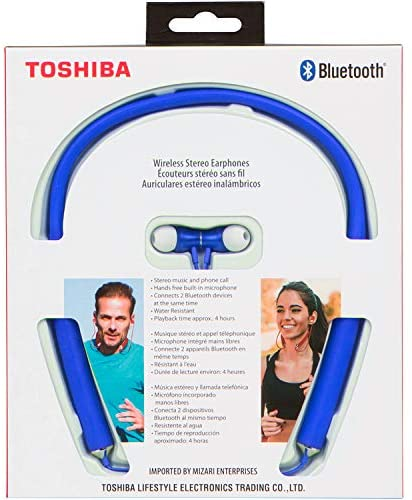 Toshiba Wireless Bluetooth Neckband Earphones, Sweat Resistant (RZE-BT600E)
