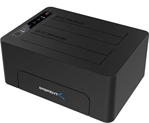 Sabrent USB 3.0 to SATA Dual Bay External Hard Drive Docking Station for 2.5 or 3.5in HDD/SSD