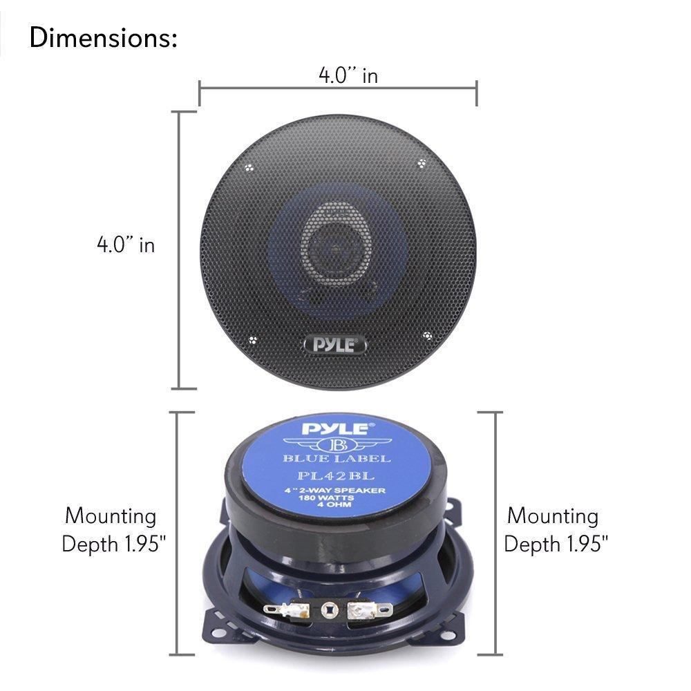 Pyle 4'' 2-Way Vehicle Speaker System - Pair - Blue (PL42BL)