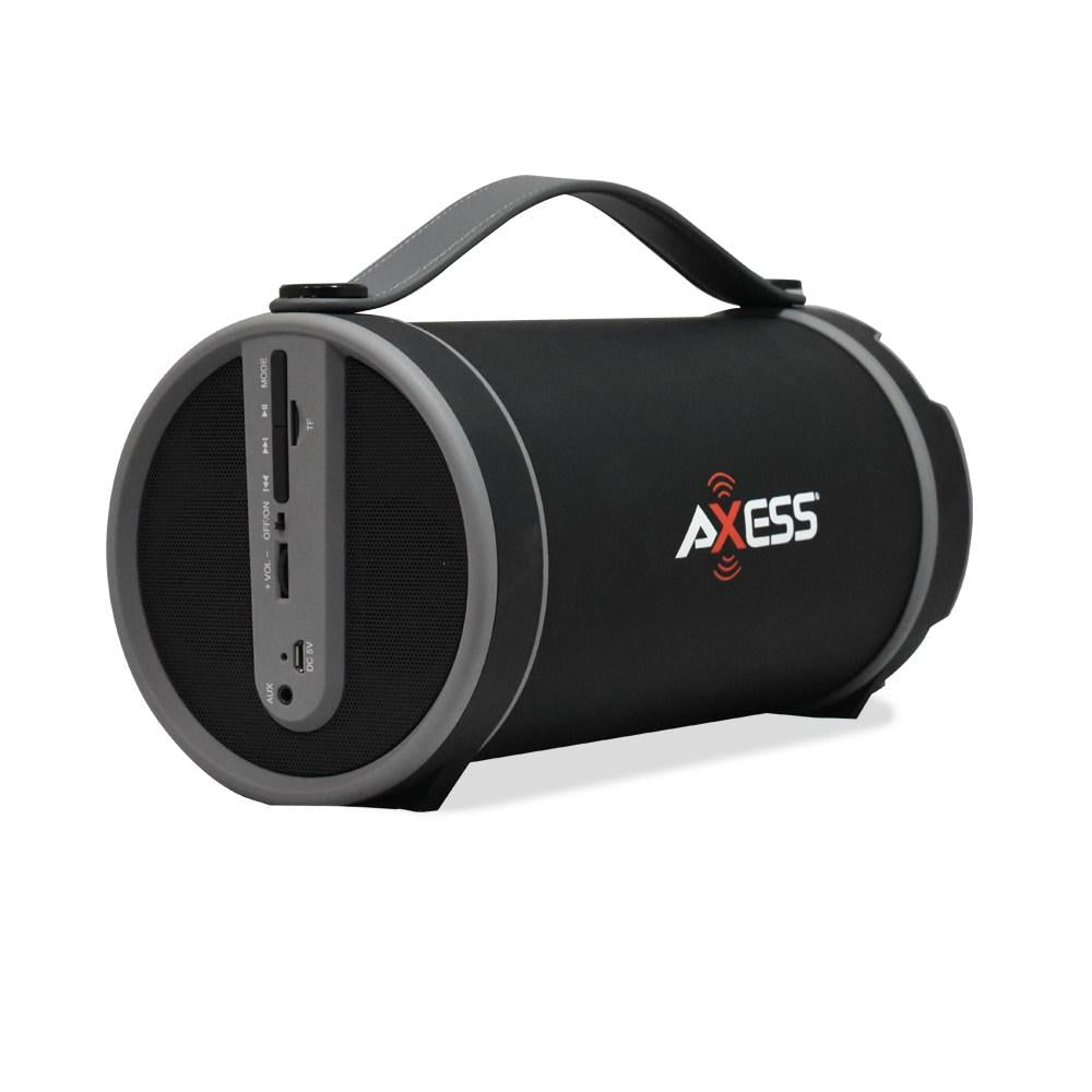 "AXESS  Portable Bluetooth Indoor/Outdoor 2.1 Hi-Fi Cylinder Loud Speaker with Built-In 4"" Sub and FM Radio, SD Card, USB, AUX Inputs in Grey (SPBT1033GY)"