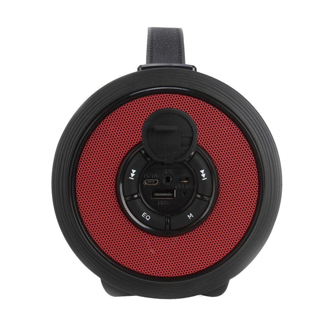 "AXESS Portable Bluetooth Indoor/Outdoor 2.1 Hi-Fi Loud Speaker with Built-in 4"" Sub + Vibrating Disk & SD Card USB AUX Inputs Red Jean (SPBT1082-RD)"