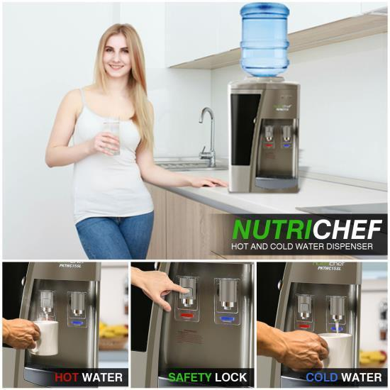 Nutrichef Water Dispenser | Hot & Cold Water Cooler (PKTWC15SL)