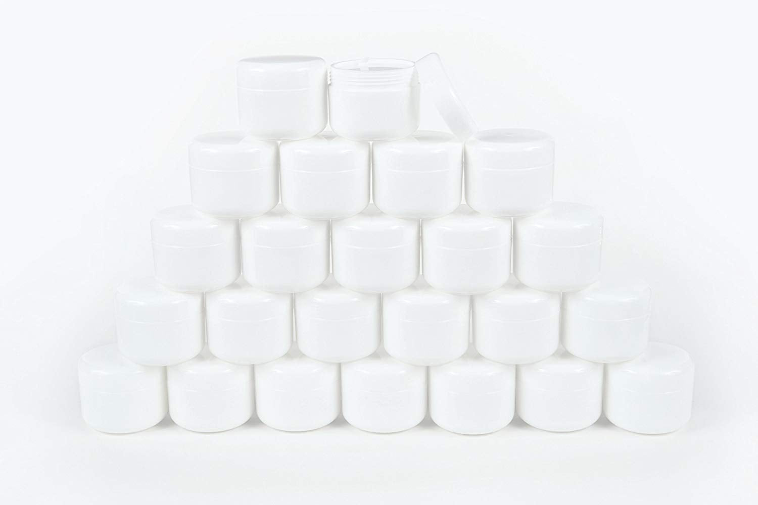Vivaplex 2oz Glass Refill Cosmetic Jars, Liners and Dome Lids - Set of 24 - White (V2WNM-24)