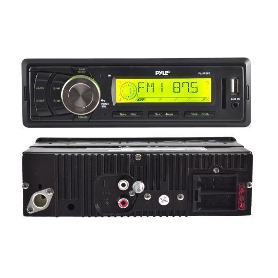 Pyle Stereo Radio Headunit Receiver, Aux (3.5mm) MP3 Input, USB Flash & SD Card Readers, Remote Control, Single DIN (Black) (PLMR86B)