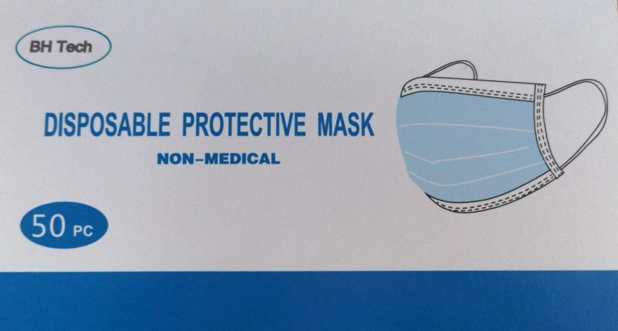 BH Tech Disposable Protective Face Mask, 3 Layer Protection, Light & Breathable (50 pc)