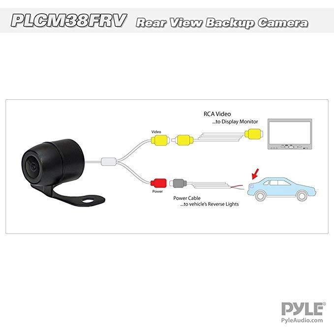 Universal Mount Front Rear Camera - Marine Grade Waterproof Built-in Distance Scale Lines Backup Parking/Reverse Assist Cam w/Night Vision LED Lights 420 TVL Resolution & RCA Output - Pyle PLCM38FRV