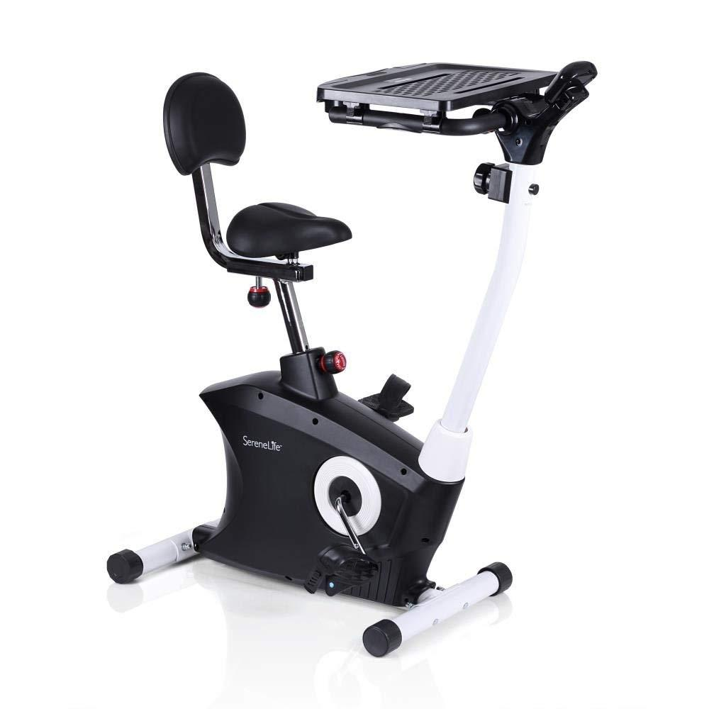SereneLife Exercise Bike - Upright Stationary Bicycle Pedal Cycling Trainer Fitness Machine Equipment with Laptop Tray for Workout, Weight Loss, Fitness & Health at Home & Office