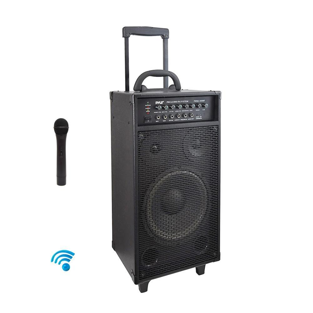 Pyle Portable Wireless Bluetooth PA Speaker System, Built-in Rechargeable Battery, Wireless Microphone, (PWMA1050BT)