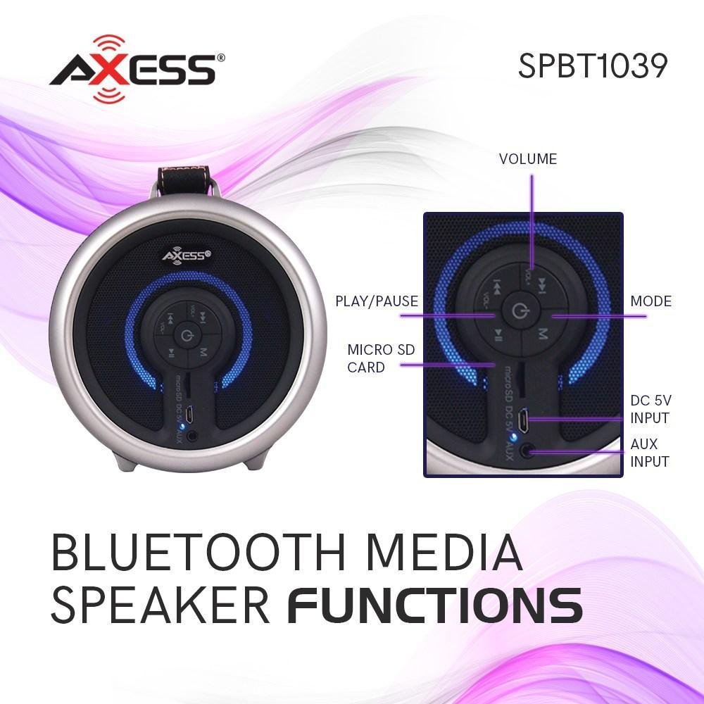 "AXESS  Portable Bluetooth Premium 2.1 Hi-Fi Cylinder Loud Speaker with Built-in 4"" Sub + Breathing LED Lights and MicroSD Card, AUX Inputs in Silver (SPBT1039SL)"