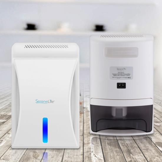 SereneLife Upgraded Electronic Air Dehumidifier - Breathe Easier Odor Eliminator Moisture Control Ventilation Fan Reusable Air Filter Removable Water Tank Rooms up to 1600 Cu Ft, 20 Oz. - PDUMID35