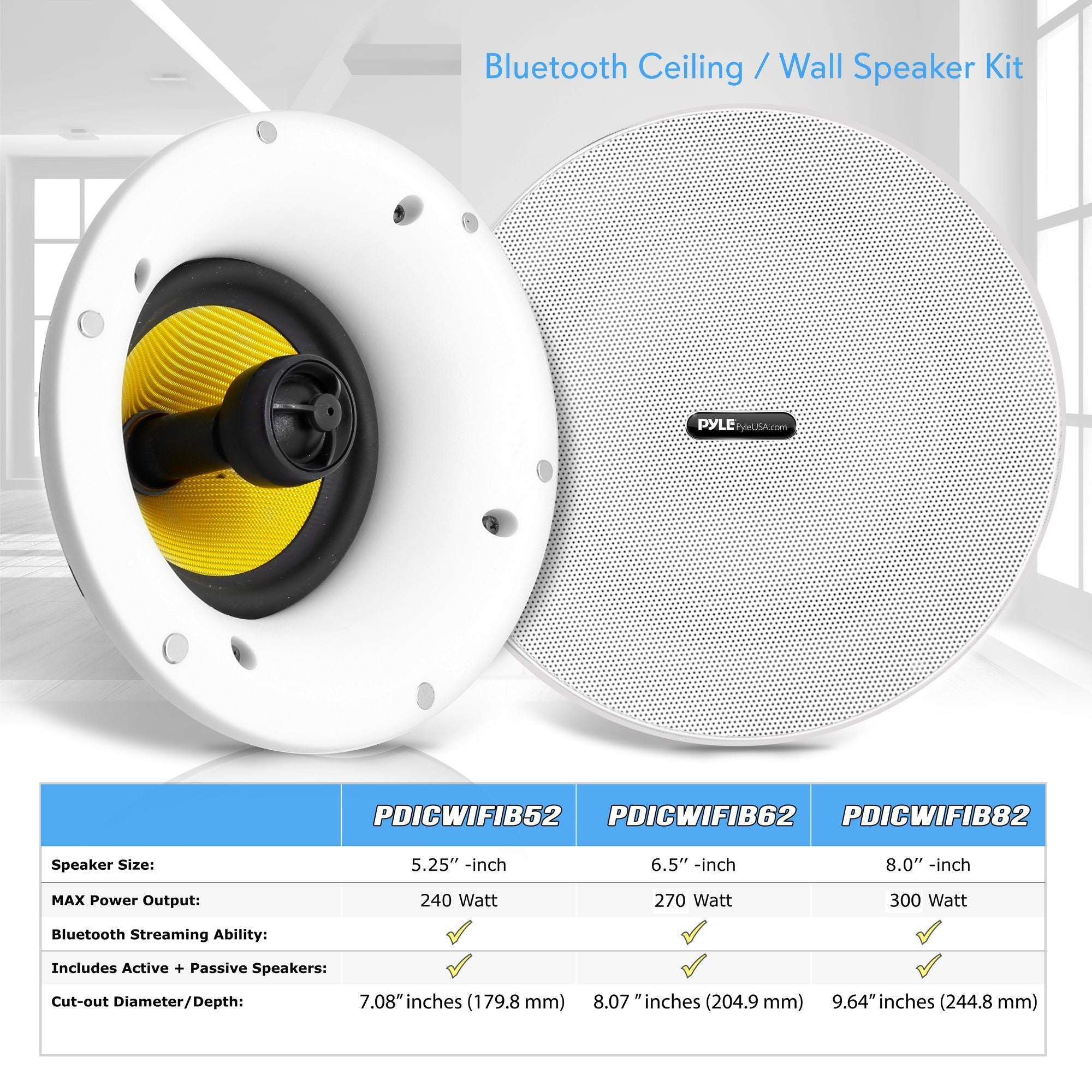 Pyle Pair of 8'' Ceiling Mount Speaker System, Bluetooth/WIFI, (9PDICWIFIB82)