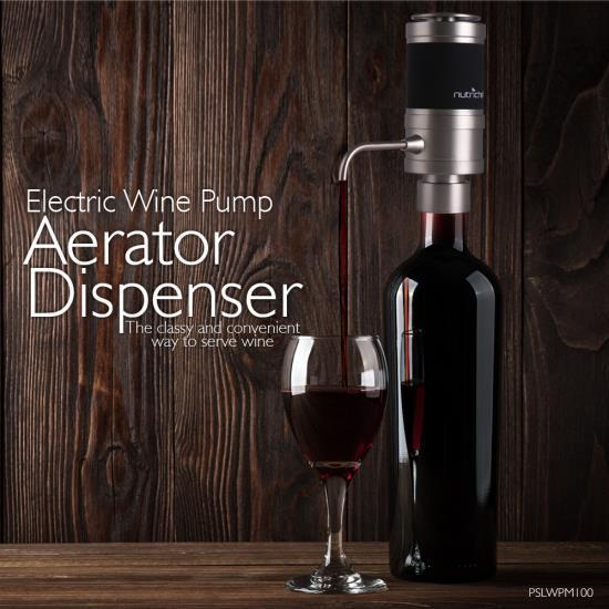 NutriChef Electric Wine Pump Aerator - Automatic Wine Bottle Air Decanter Dispenser (PSLWPMP100)