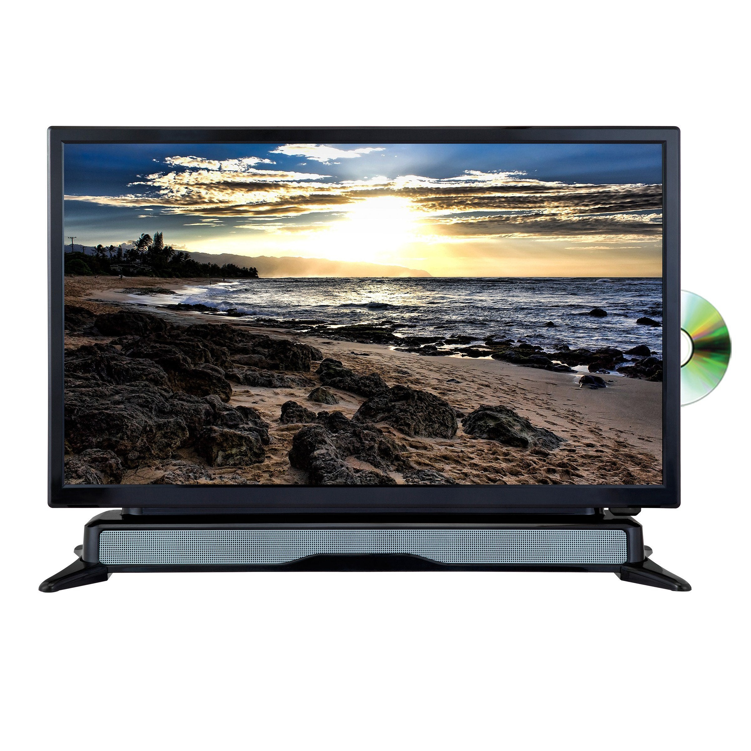 "AXESS  24"" HD TV/DVD Combo with External Soundbar Speaker, SD Card, AC/DC Power, HDMI Port, Remote Control (TVD1804-24)"