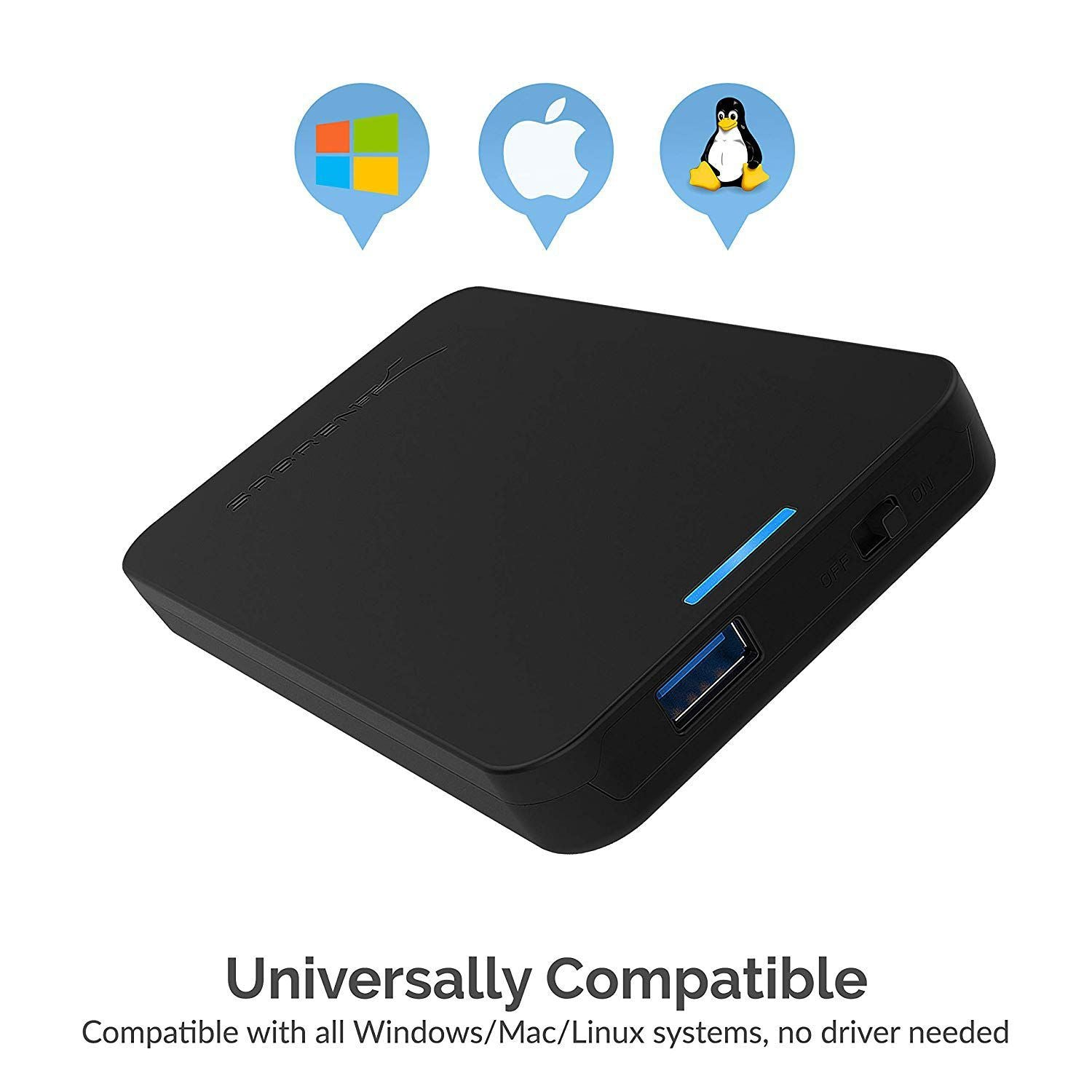 Sabrent 2.5-Inch SATA to USB 3.0 Tool-Free External Hard Drive Enclosure, Optimized for SSD, Support UASP SATA III (EC-UASP)