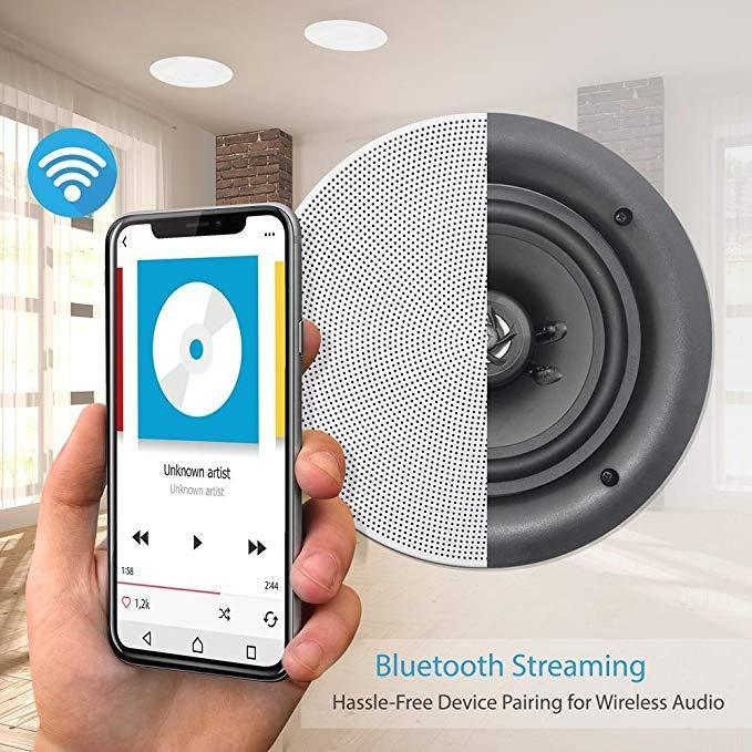 "Pyle Set of 4 6.5"" Bluetooth 2-Way Speakers, In-wall/Ceiling, Amplifier, (PDICBT266)"