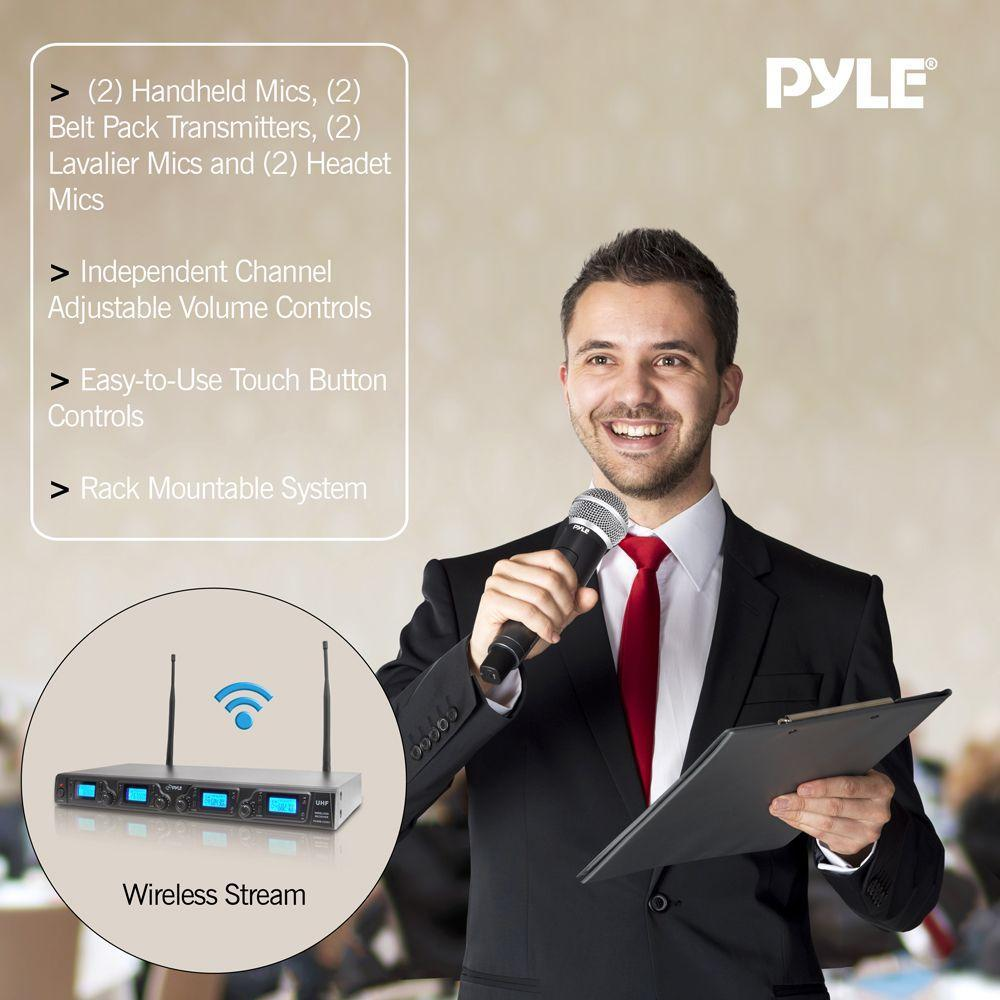 Pyle Upgraded Wireless Microphone System - 4-Channel UHF, Adjustable Frequency, Includes (2) Handheld Mics, (2) Beltpack Transmitters, (2) Lavalier Mics & (2) Headset Mics - PDWM4350U