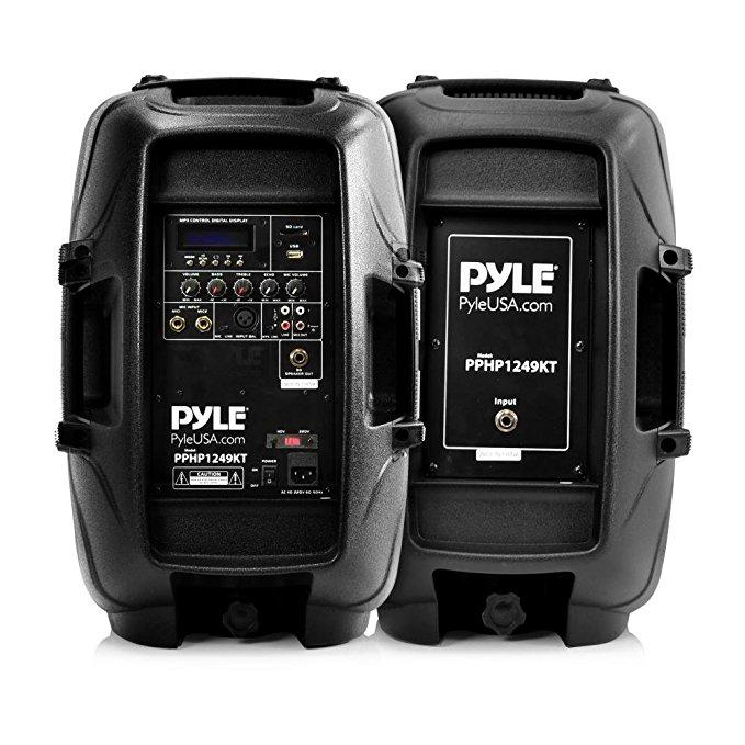 Pyle PPHP1249KT Powered Bluetooth PA Active Loudspeaker with Microphone - 12 Inch Stage Bass Subwoofer Built-in USB for MP3 Amplifier - DJ Portable Sound Stereo Amp Sub for Concert Audio or Band Music