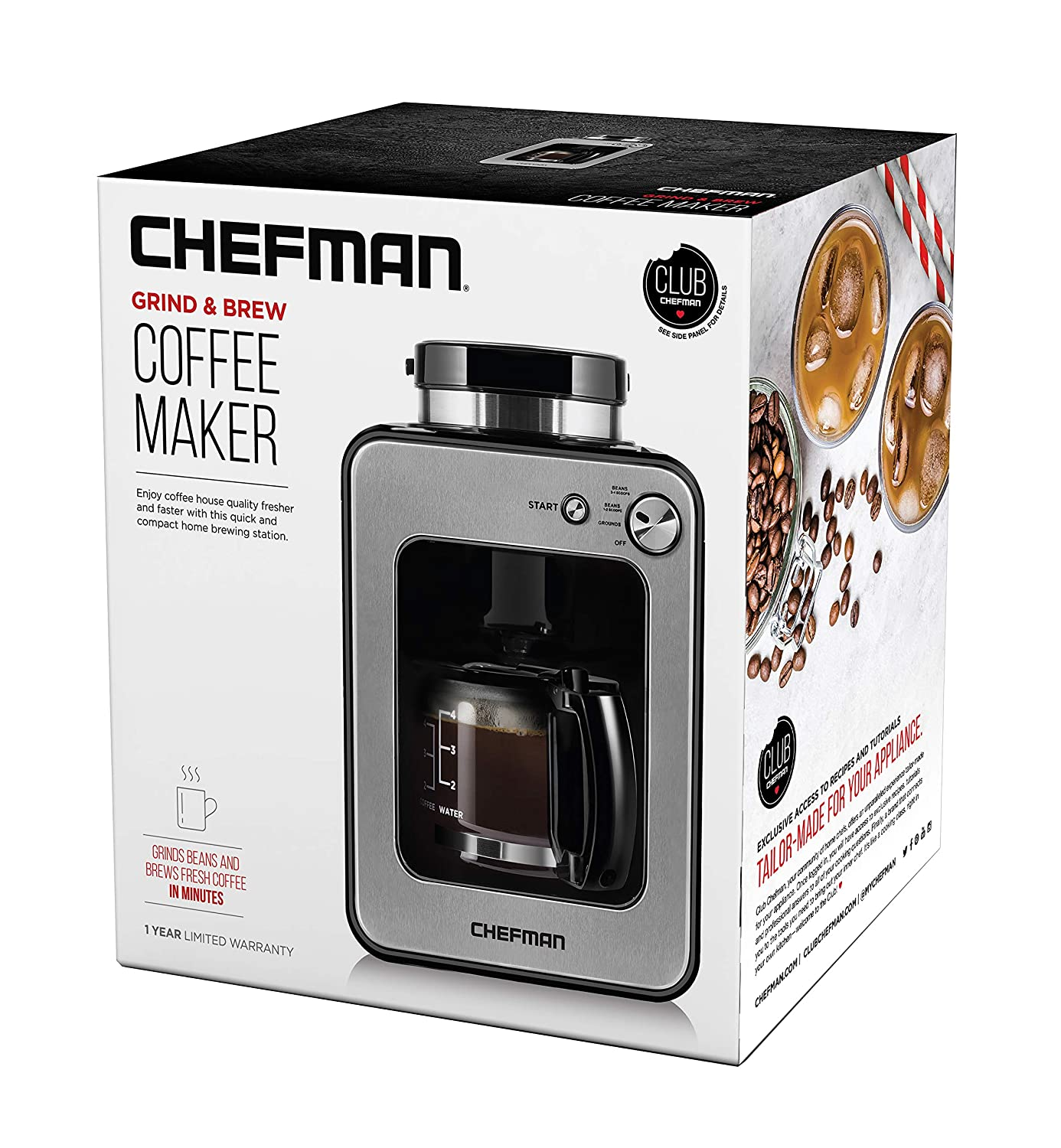 Chefman Grind and Brew 4 Cup Coffee Maker and Grinder, Compatible w/ Fresh Beans and Grounds, Adjustable Strength Settings, Washable Coffee Filter & Scoop Included, Compact, Black/Stainless Steel