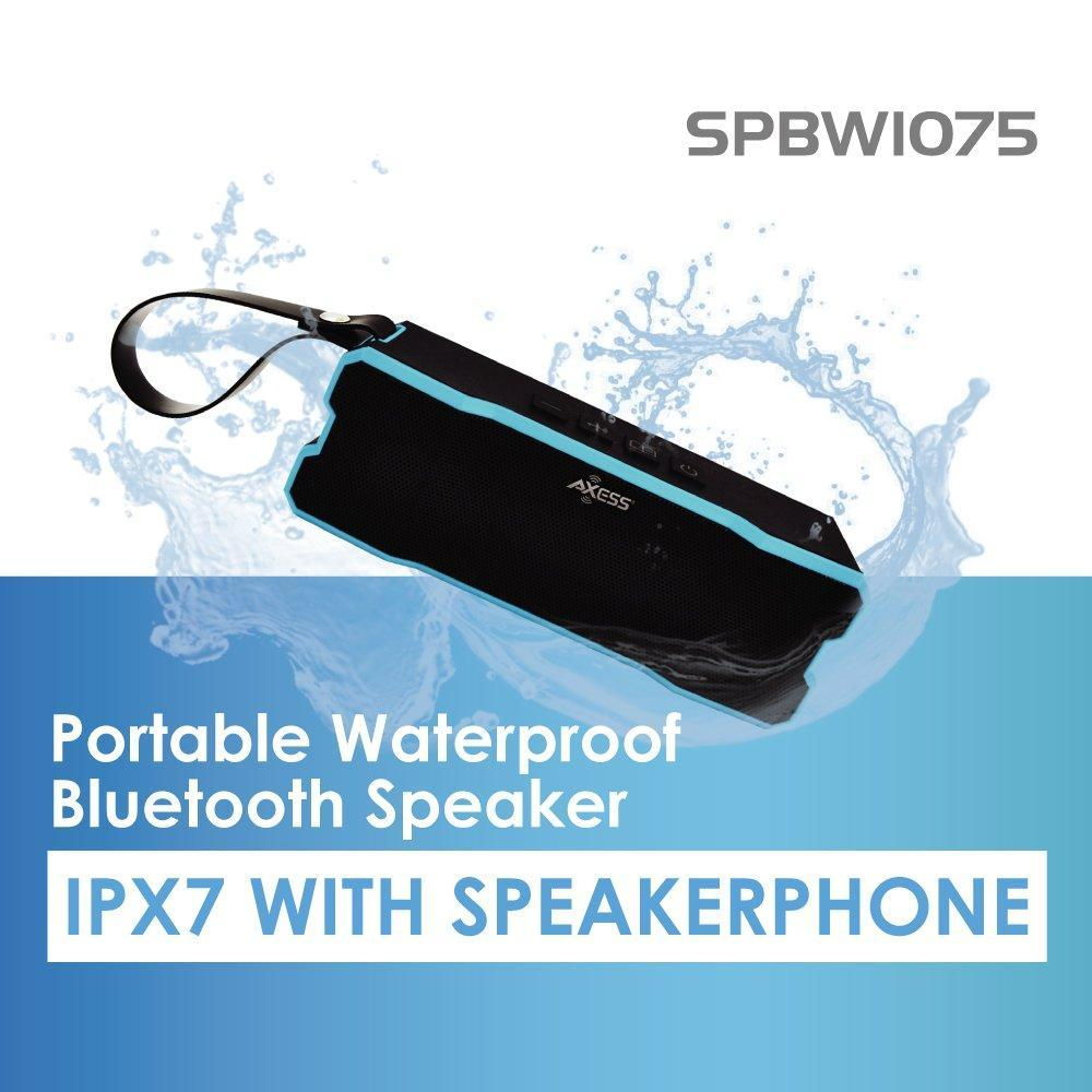 AXESS SPBW1075 Portable Waterproof Rechargeable Bluetooth Speaker with Built-in Speakerphone, Green