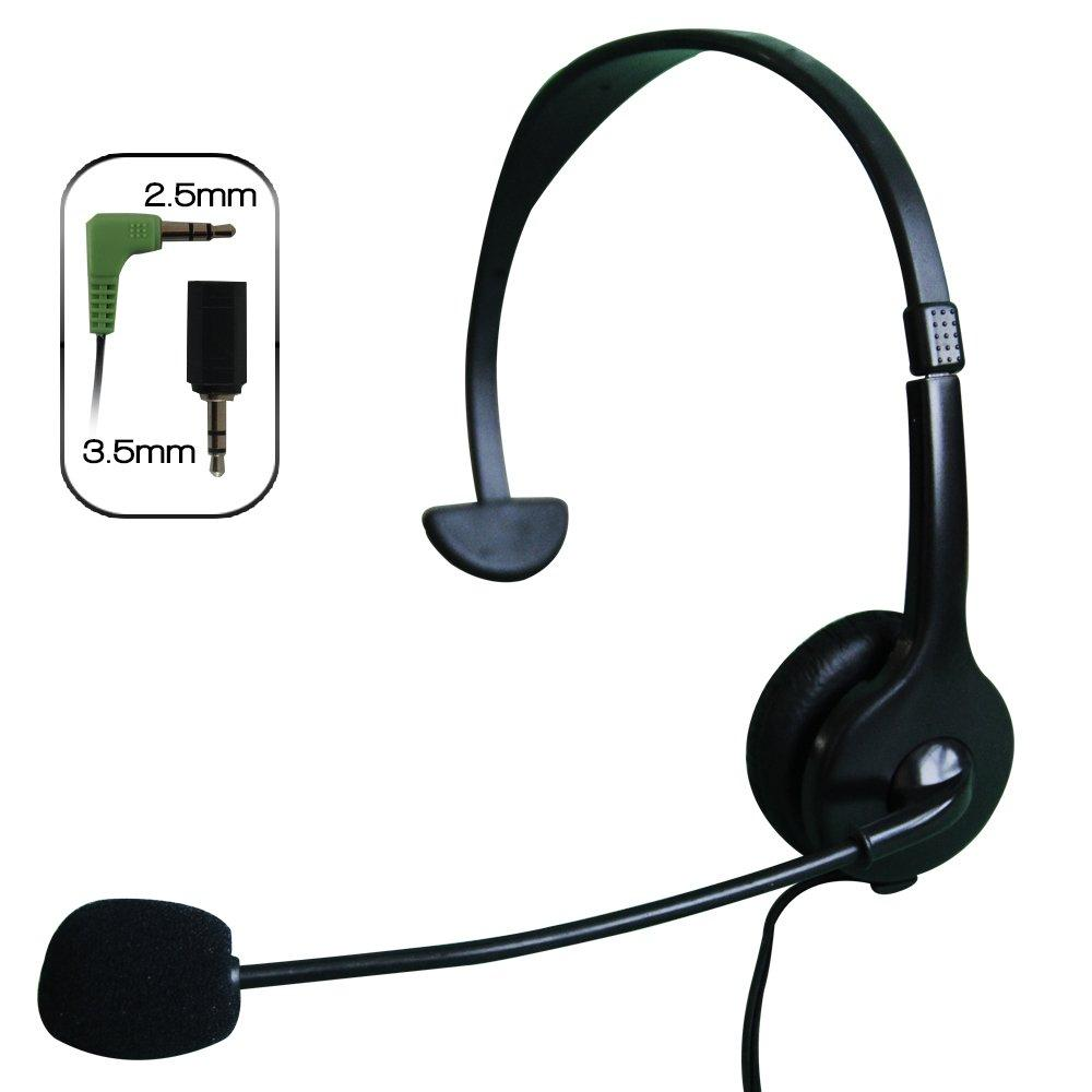 Axess HPM606-BK Headphone with microphone for Panasonic cordless phones and compatible devices BLACK