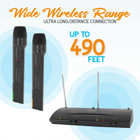Pyle 2-Ch. VHF Wireless Microphone Receiver System, (2) Handheld Wireless Microphones, (PDWM2100)