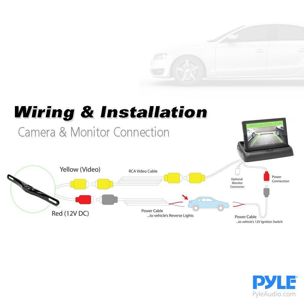 "Pyle Rear View Car Camera Monitor System, Distance Scale Lines, Waterproof, Night Vision, 4.3"" Display, (PLCM4500)"