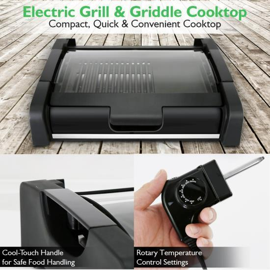NutriChef Electric Grill & Griddle Cooktop - Crepe Maker Hot Plate Cooktop with Glass Lid (PKGRIL45)