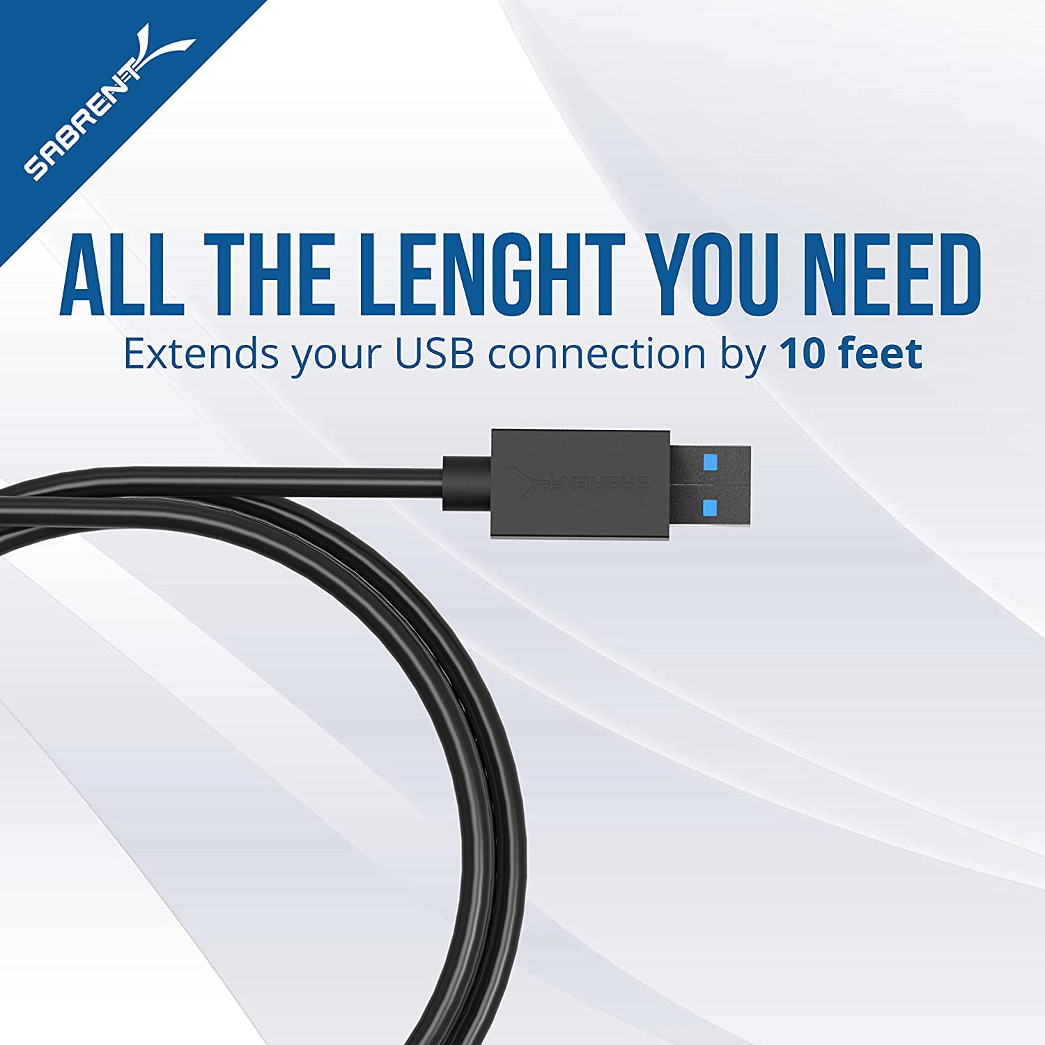 Sabrent USB 3.0 Male to Female Extension Cable - 10 Feet (CB-3010)