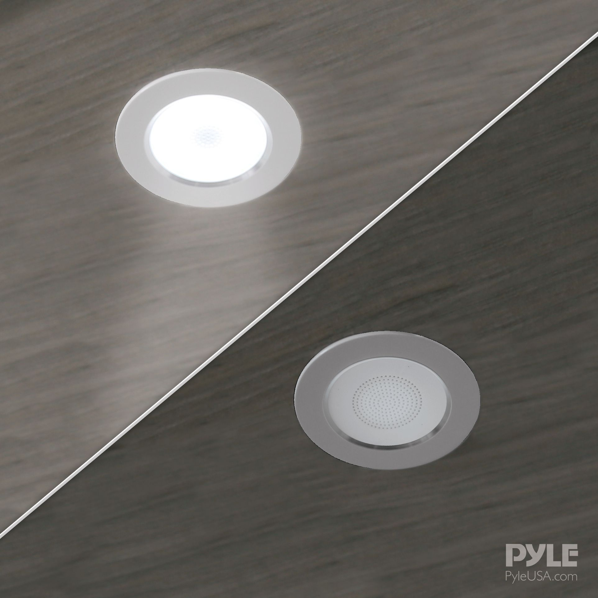 "Pyle Pair of 3.5"" Bluetooth 2-Way Speaker System, In-wall/Ceiling, 650 Lumen LED Lights, (PDICBTL35)"