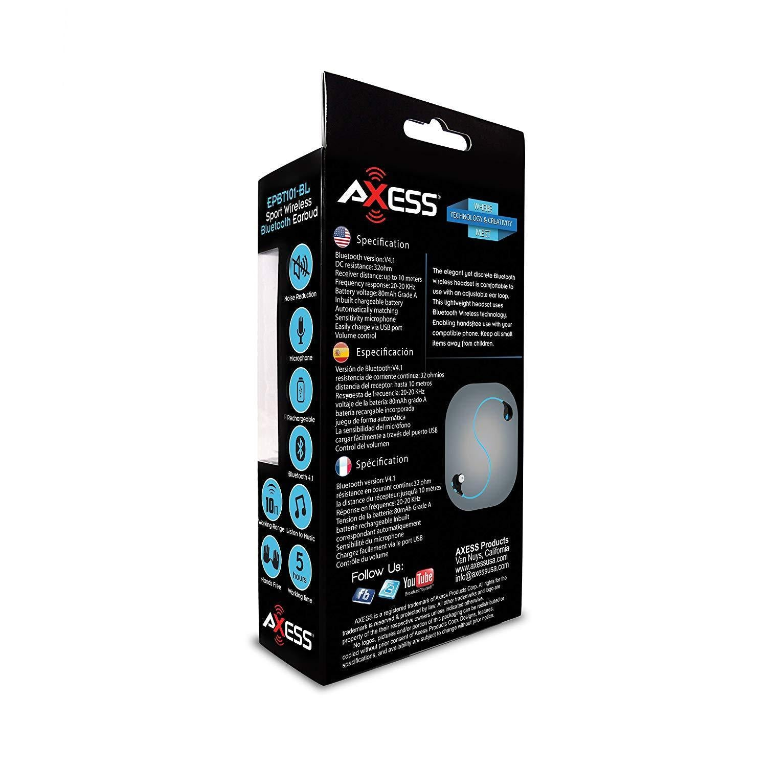 AXESS Bluetooth Headphone with Hands-Free Calling & Built-in Rechargeable Battery in Blue (EPBT101BL)