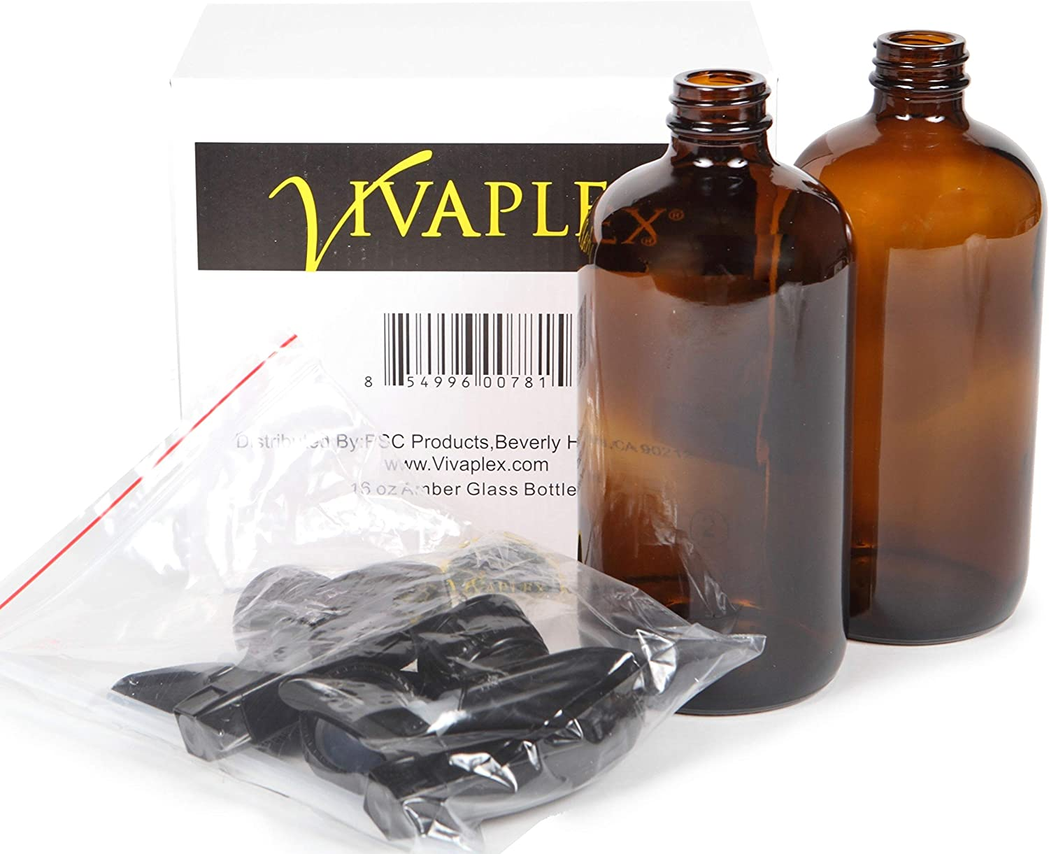 Vivaplex, 2, Large, 16 oz, Empty, Amber Glass Spray Bottles with Black Trigger Sprayers and Lids