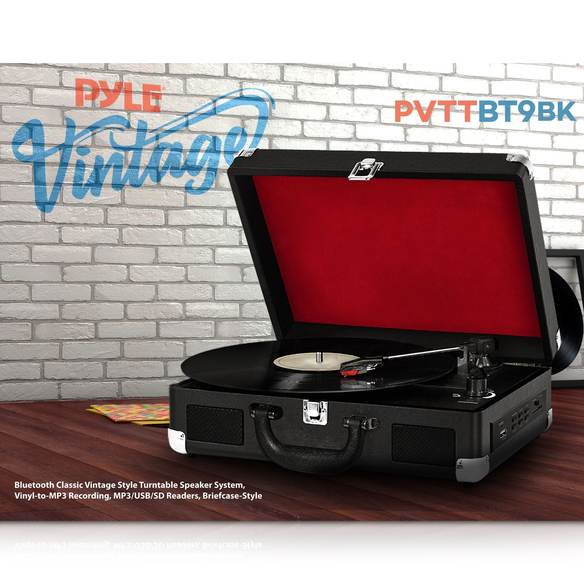 Bluetooth Compatible Classic Vintage Turntable - Retro Briefcase Style Record Player Speaker System w/ 3-Speed, Vinyl to Digital MP3 Converter, Phono USB SD Slot, AUX, RCA - Pyle PVTTBT9BK (Black)