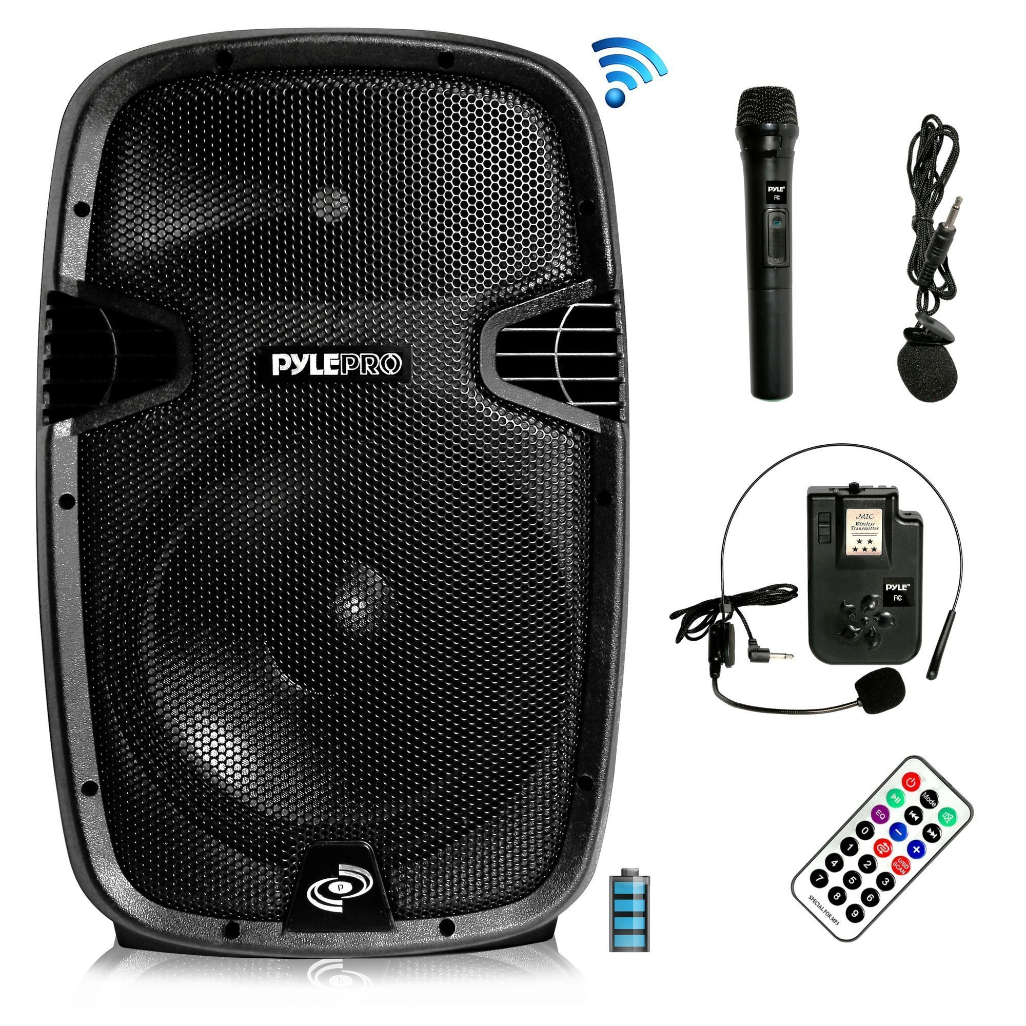 "Pyle Wireless & Portable Bluetooth Loudspeaker - Active PA Speaker System Kit, Built-in Rechargeable Battery (12"" Subwoofer, 1000 Watt) (PPHP1241WMU)"