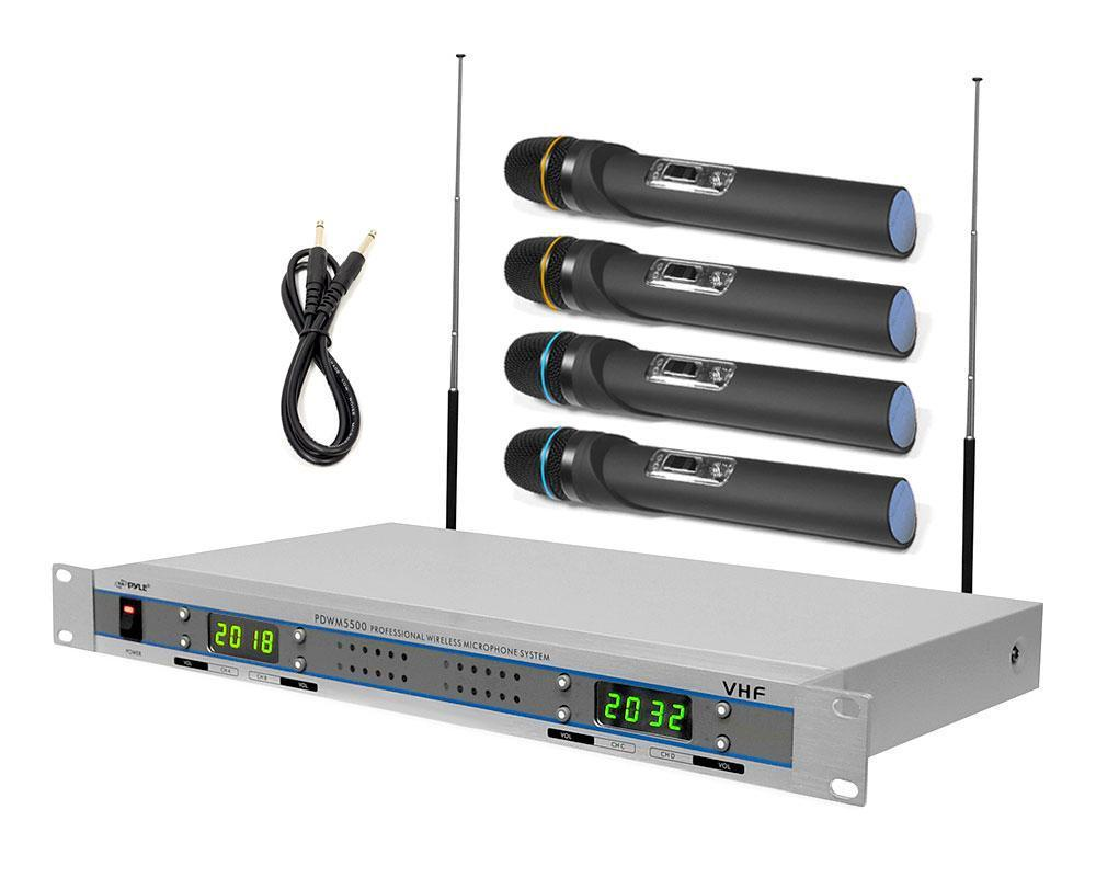 VHF Wireless Microphone System with (4) Handheld Microphones