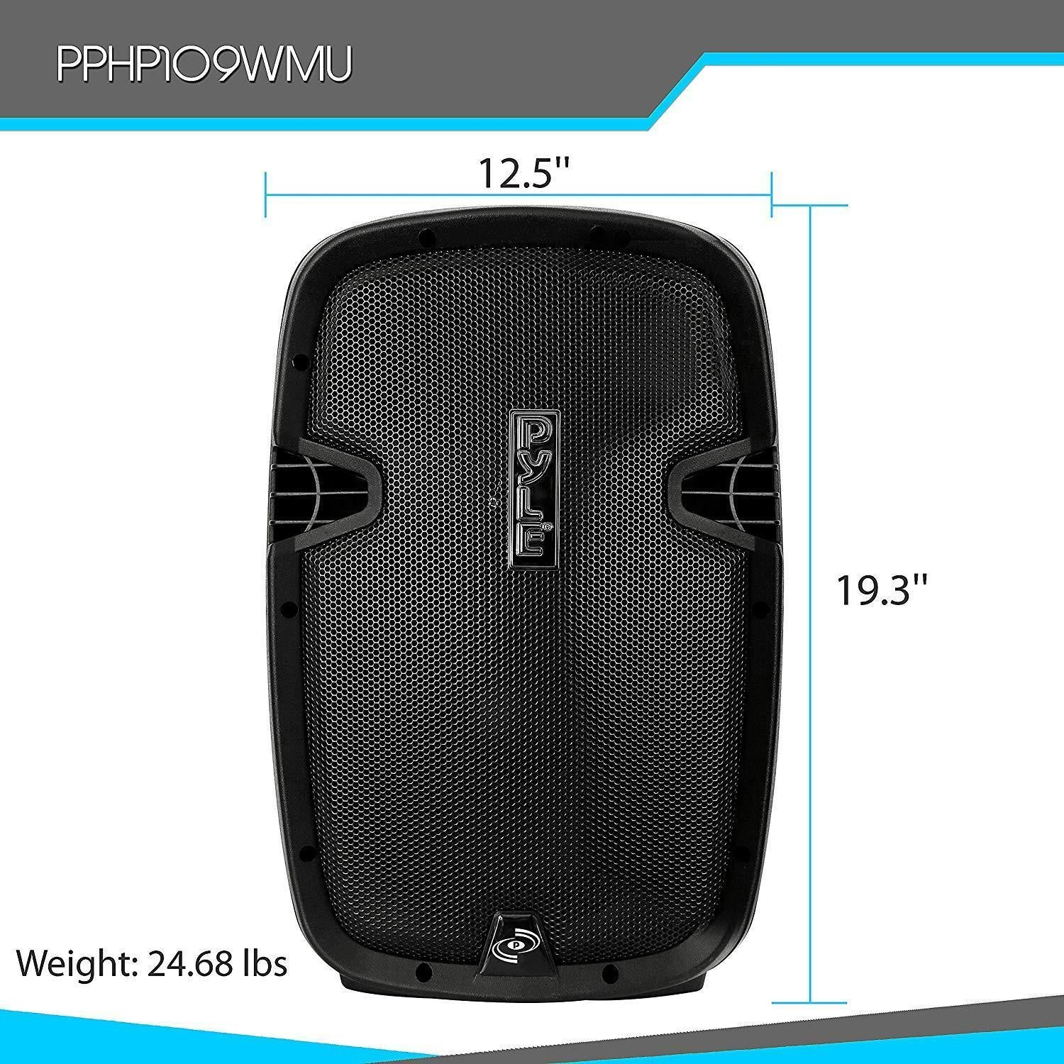 Pyle Wireless & Portable Bluetooth PA Speaker, Active-Powered Loudspeaker System, FM Stereo Radio, Built-in Rechargeable Battery, USB/SD Readers, Includes Handheld Microphone, Recording Ability, FM Radio, 1000 Watt, 10'' Subwoofer (PPHP109WMU)