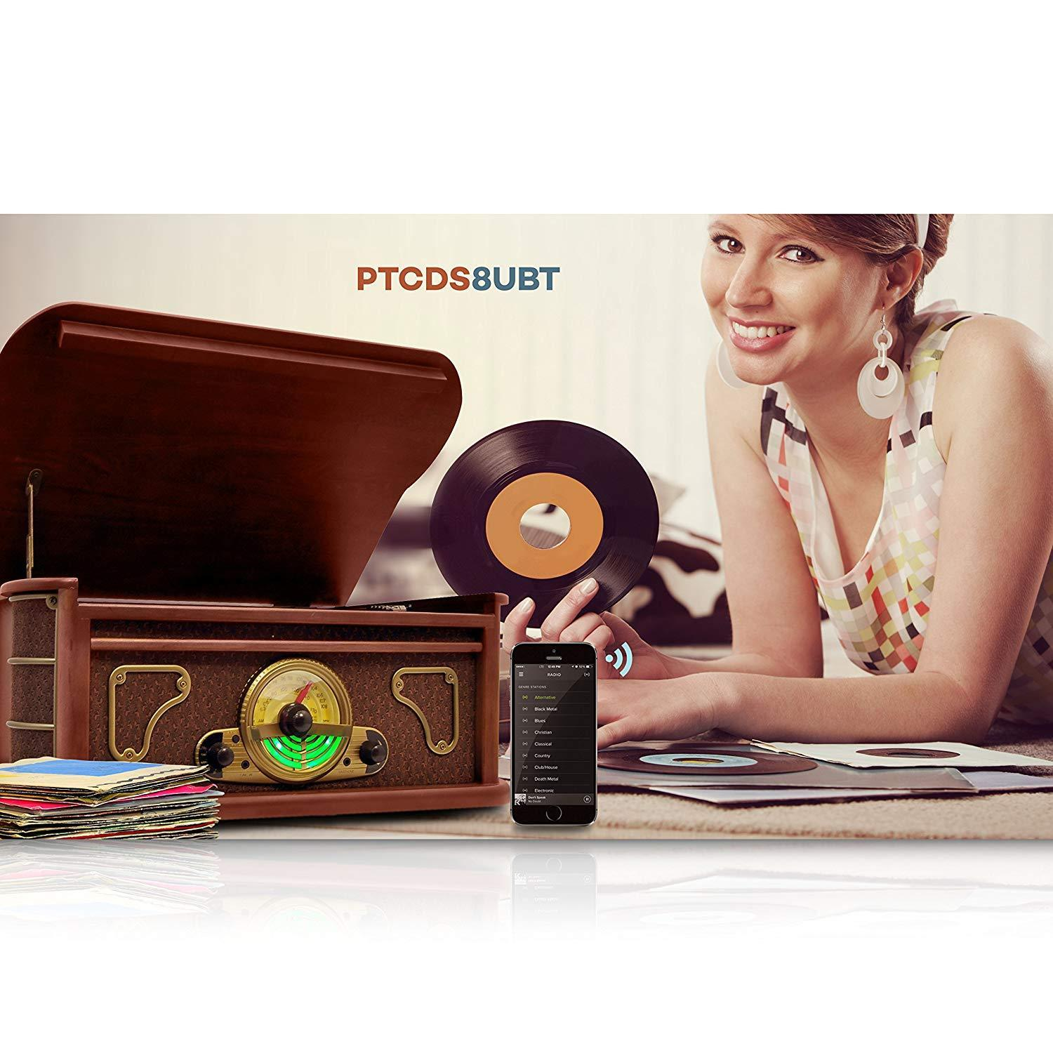 Pyle Bluetooth Turntable Speakers, CD Player - Brown (PTCDS8UBT)