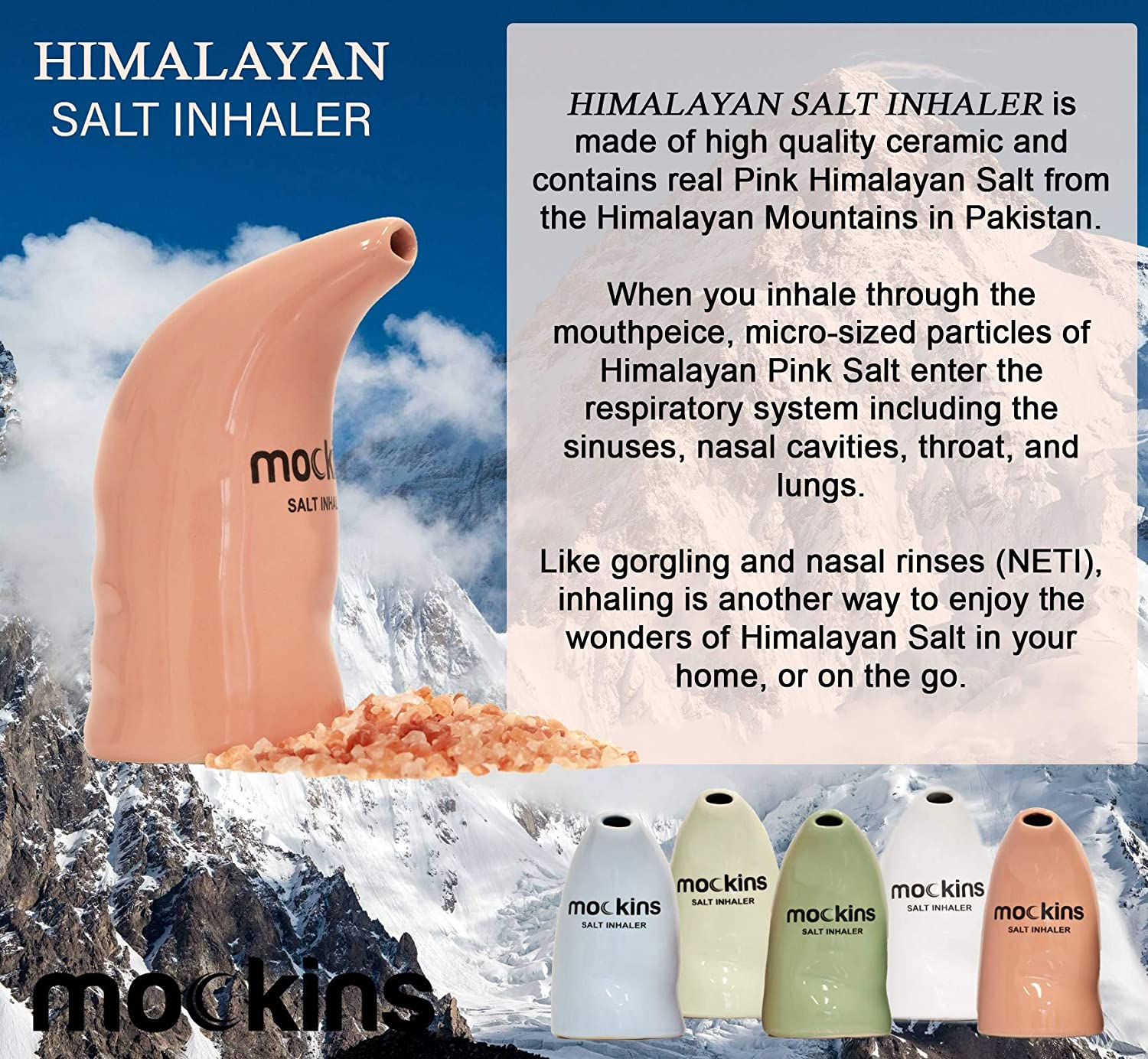 Mockins Ceramic Himalayan Salt Inhaler, Asthma & Allergy Relief - Pink (MHHSINHAPNK89)