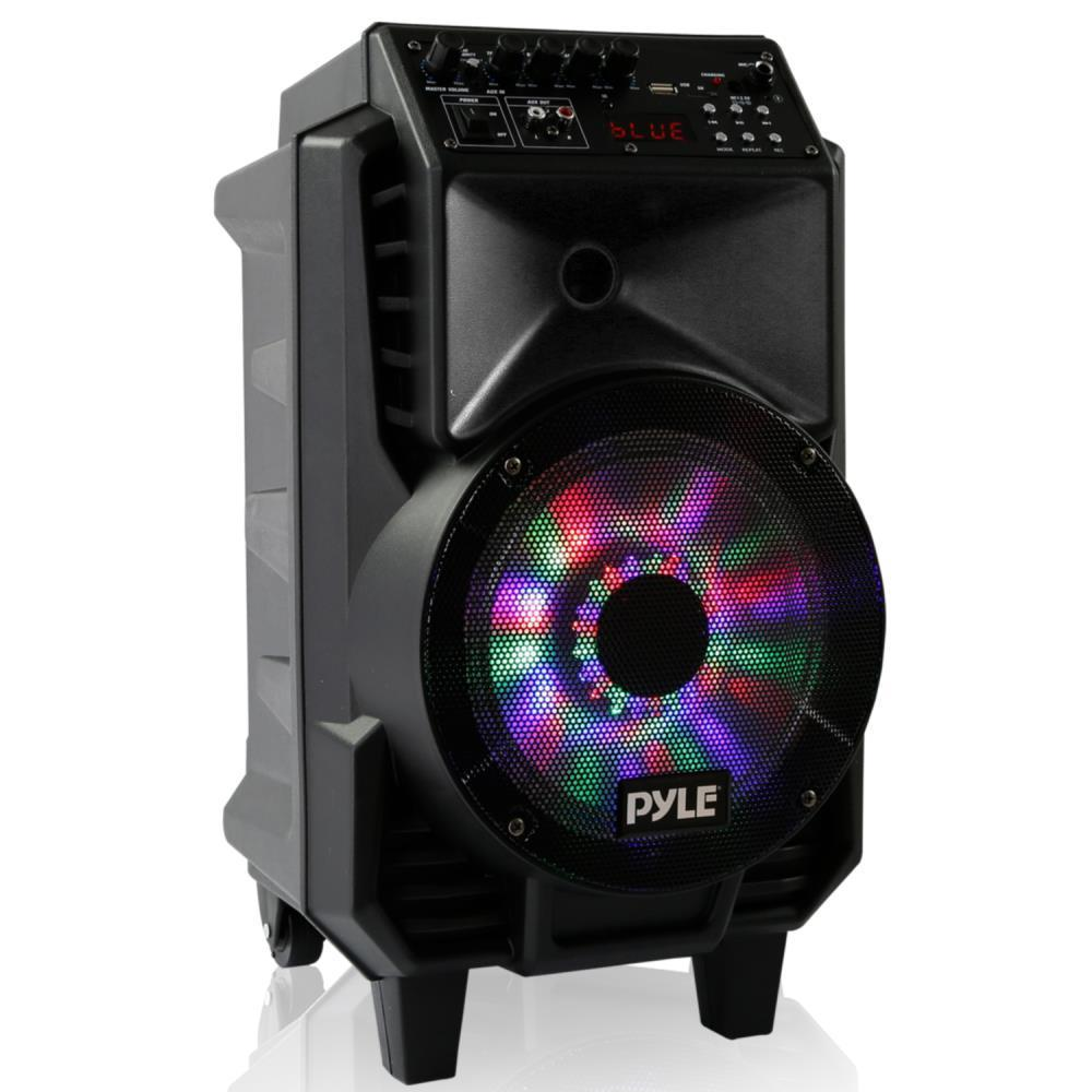 Pyle Portable PA Speaker & Microphone System, Bluetooth Wireless Streaming, Built-in Rechargeable Battery, Dancing DJ Party Lights (Includes Wired & Headset Mics) (PPHP816WMU)