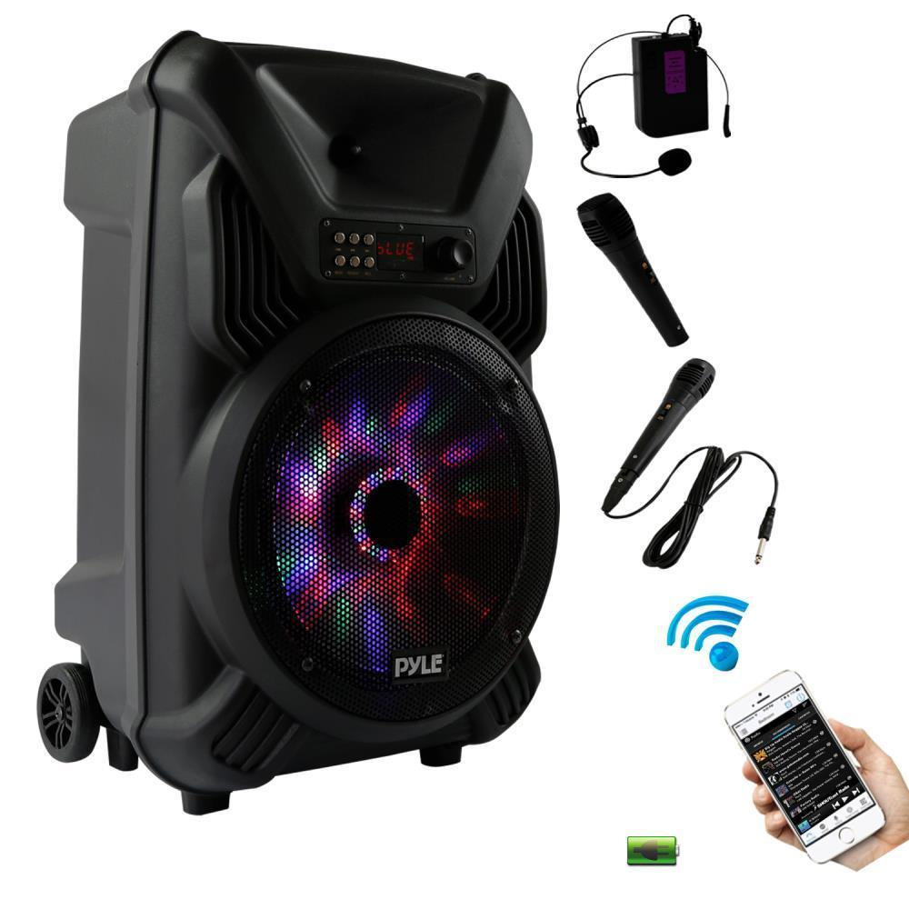 Pyle Portable Karaoke Sound System, Bluetooth Wireless Streaming, USB Micro SD Card Reader, Stereo Speaker, Rechargeable Battery, Dancing LED Party Lights, Includes Wired & Headset Mics (PPHP126WMU)