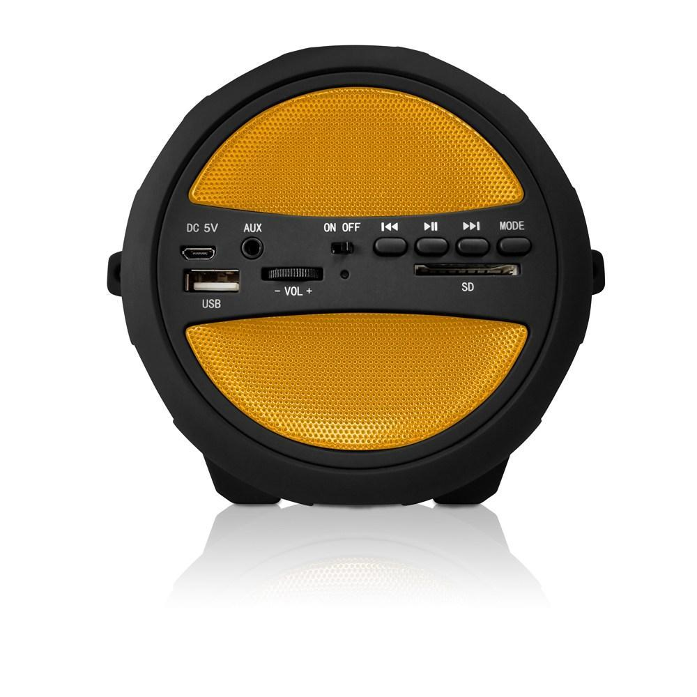AXESS  Portable Thunder Sonic Bluetooth Cylinder Loud Speaker with Built-in FM Radio, SD Card, USB, AUX Inputs in Yellow (SPBT1041YL)