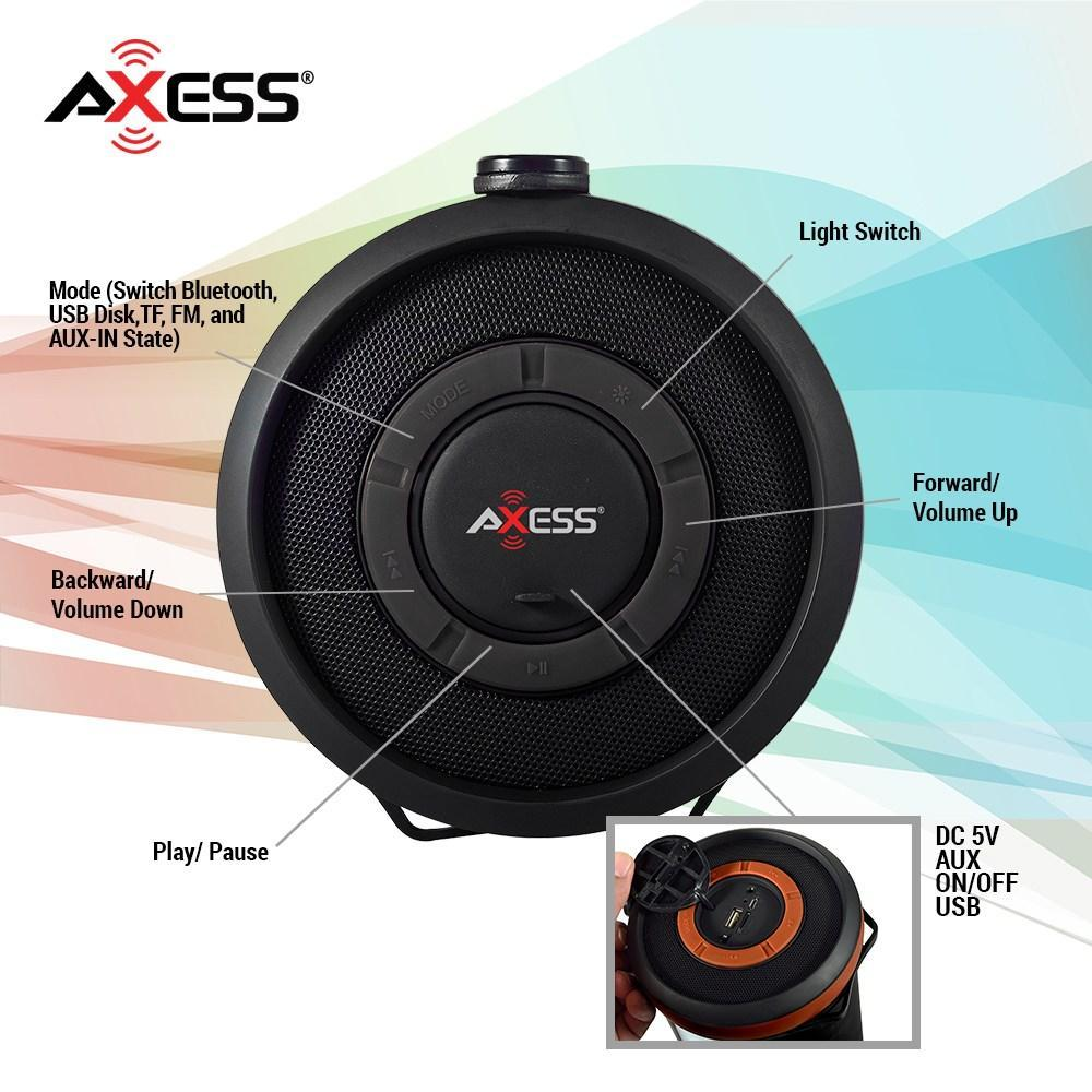 AXESS  Portable Bluetooth Rechargeable Speaker with LED and RGB Lighted Panels and Built-in FM Radio in Black (SPBT1054BK)