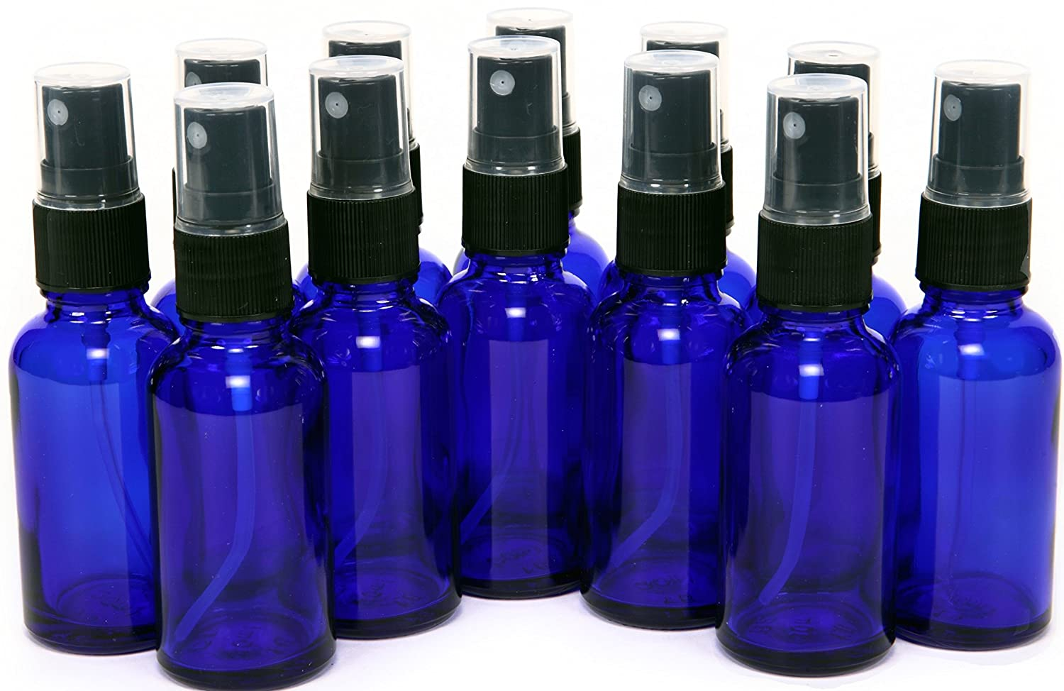 12 New, High Quality, 1 oz Cobalt Blue Glass Bottles, with Black Fine Mist Sprayers