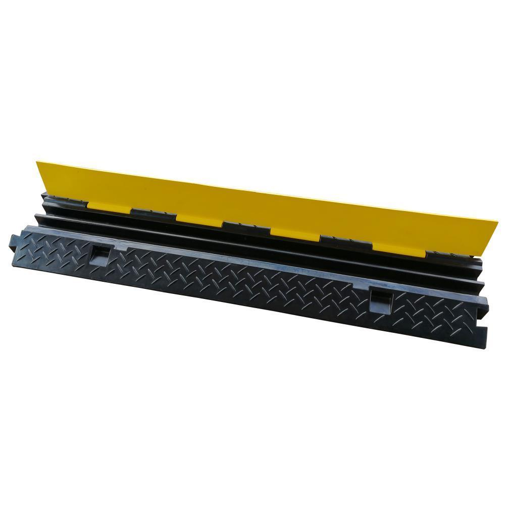 Pyle Safety Cable Protector Cover Ramp/Track, Flip-Open Access Lid, Dual Channel, (PCBLCO103)