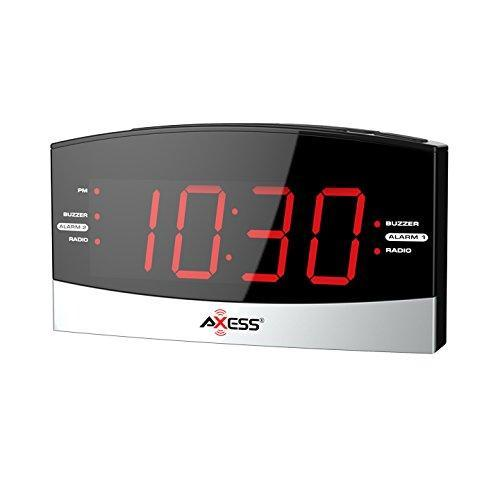 "AXESS AM/FM Digital Radio Dual Alarm Settings, 1.8"" Red LED Display, Aux Input Jack, Battery Backup Power Interruption (Batteries not Included) (CKRD3802)"