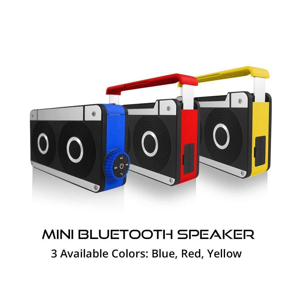 AXESS SPBT1063 Mini Bluetooth Loud Speaker with Hands-Free Calling and Built-in Rechargeable Battery in Yellow